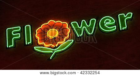 The word Flower in Green Neon