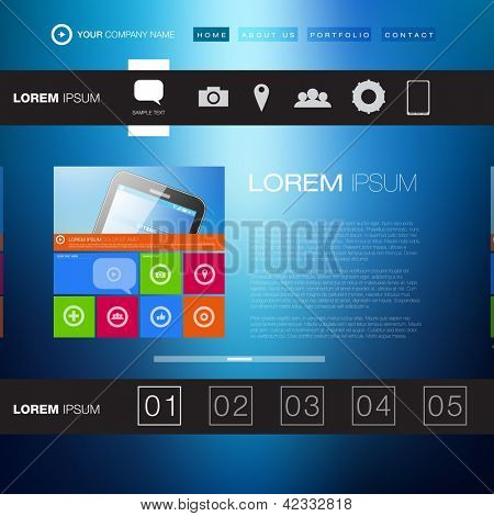 Modern Website Template | Creative Media Design | EPS10 Editable Vector Layout