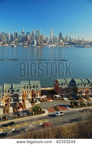 Hudson River, New York City skyline, bekeken uit New Jersey.
