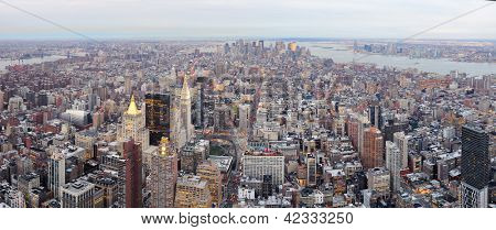 New York City Manhattan downtown aerial view with urban city skyline and skyscrapers buildings.