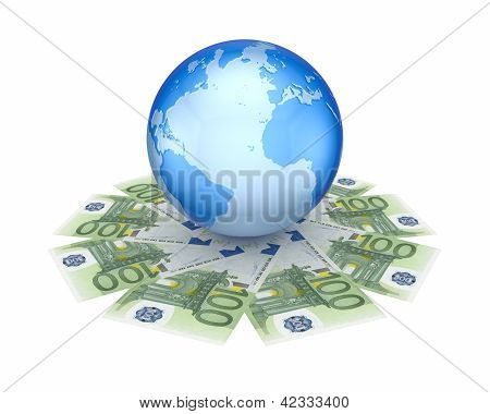 Earth on euro banknotes.