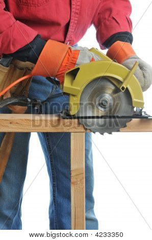 Construction Worker With Circular Saw