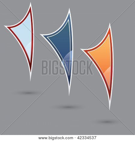 Set of three various colored flags