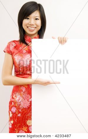 Oriental Girl With Copy Space.
