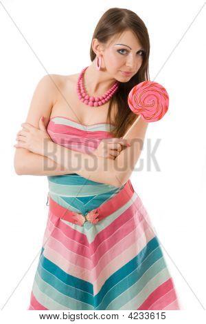Brunette With Large Pink Lollipop