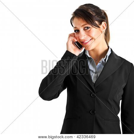 Portrait of a smiling businesswoman talking on the mobile phone