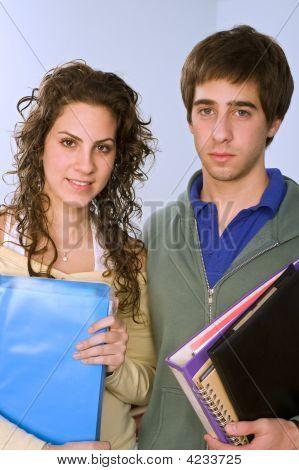 Teenagers Studying Standing