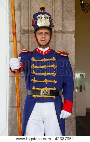 Presidential guard in the presidential palace, Quito