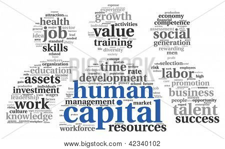 Human capital concept in tag cloud on white background