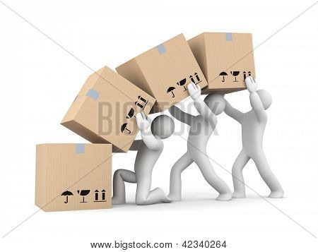 People work with boxes. Teamwork