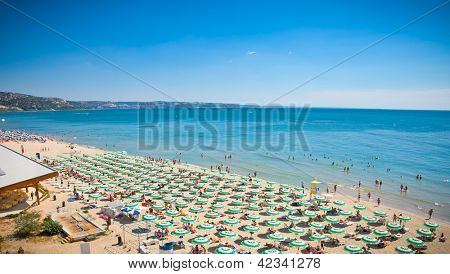 Panoramic view of Golden Sands beach (Zlatni Piasci) in Bulgaria.