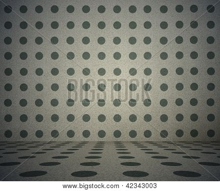 old grunge room with polka dot pattern, vintage background