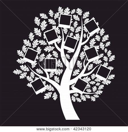Familie Stammbaum auf schwarzem Hintergrund, Vektor-illustration