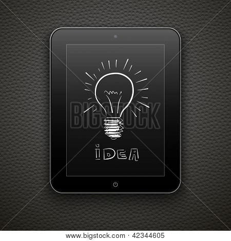 Abstract vector background with tablet pc and lamp. Eps10