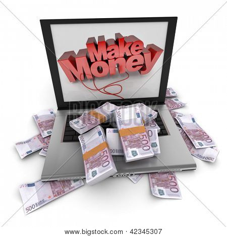 A portable computer with make money written on the screen, with the keyboard cover in five hundred euro bills