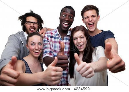 Happy Friends Showing Thumb Up Sign On White Background
