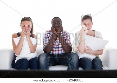 Group Of Friends Watching Emotional Movie On White Background
