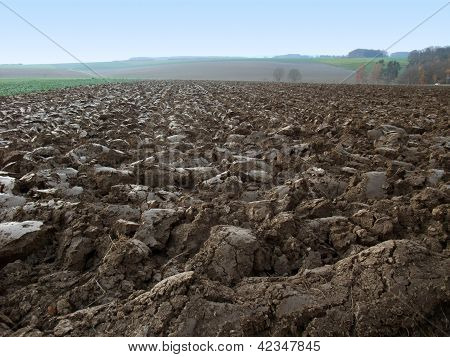 Plowed Field In Rural Ambiance