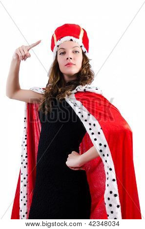 Queen businesswoman isolated on the white
