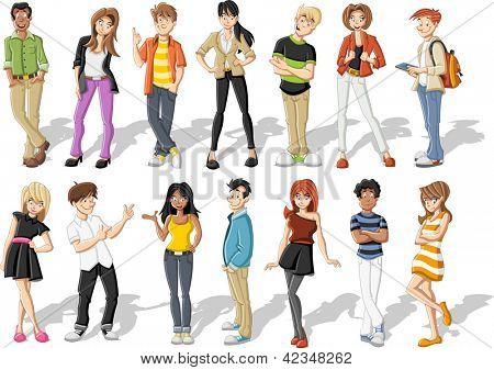 Grupo de jóvenes felices de dibujos animados