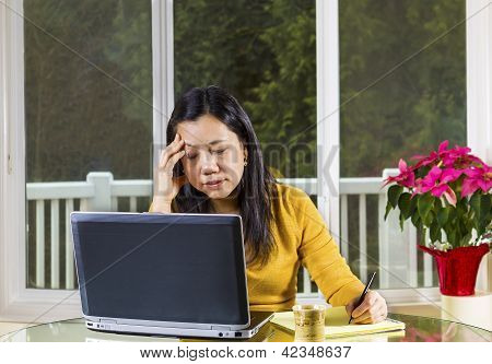 Mature Woman Stressed While Working At Home Office