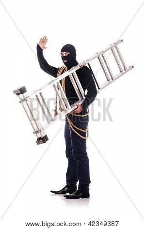 Burglar wearing balaclava isolated on white