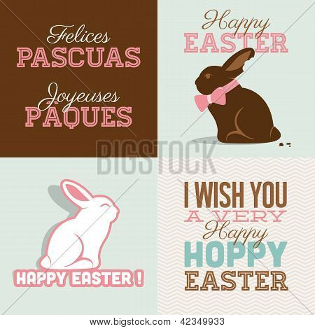 Happy easter cards illustration vector with easter bunny chocolate
