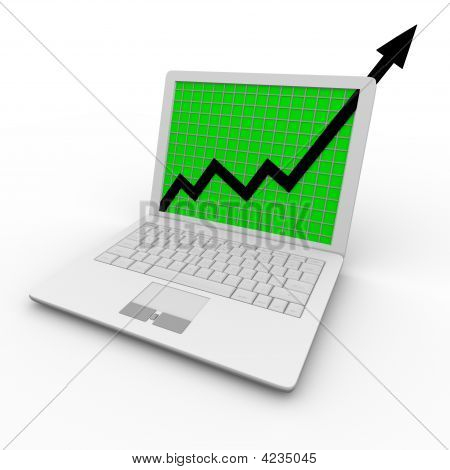 Growth Arrow On Laptop Computer