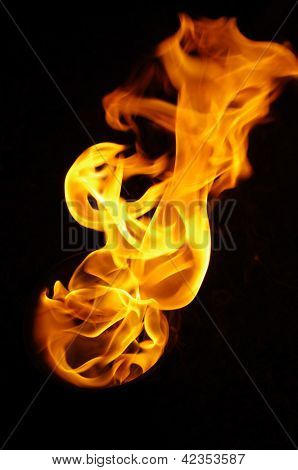 Isolated Fire Flames On Black Background, Darkness
