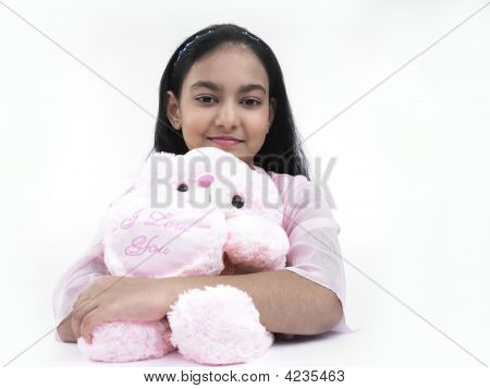 Asian Girl Of Indian Origin With Her Teddy Bear