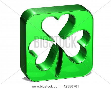 3D Green Clover Over White Background