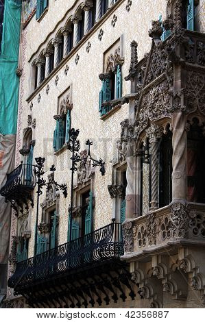 View Of Barcelona, Spain. Passeig De Grasia And La Rambla. Houses Built In The Xviii Century