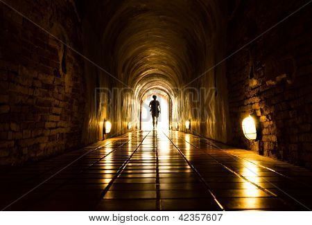 Light And Human At End Of Tunnel