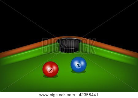 Billiard table with billiard balls
