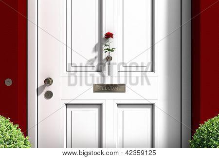 white welcome door