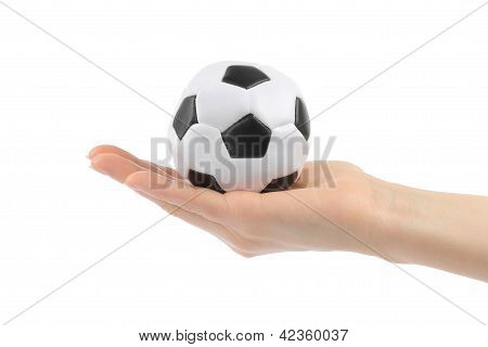 Woman hand with football