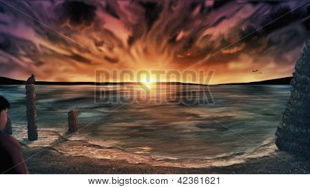 Washed Away Beach At Sunset - Digital Painting