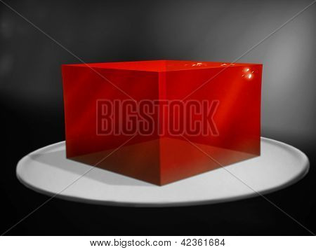 Slab Of Red Gelatin On A Plate - Digital Painting