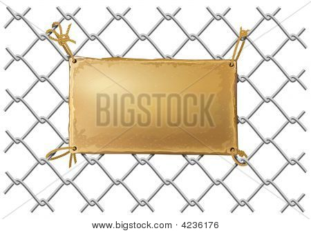 Blank Bronze Metal Plate On A Wire Net