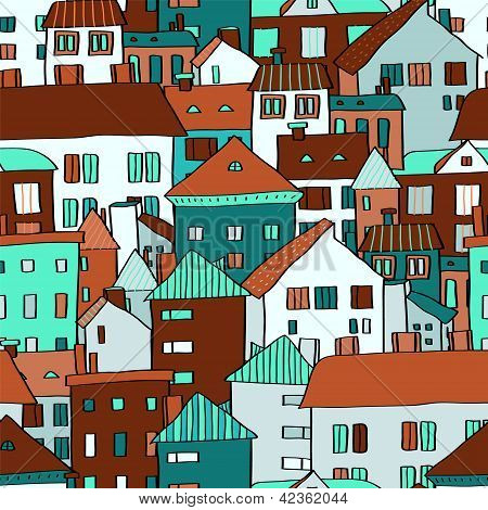 Panorama town various buildings in blue seamless pattern, vector