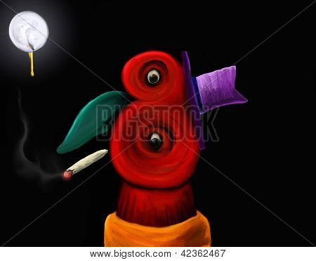 abstract smoking character - digital art