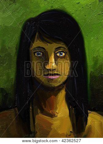 Girl with long black hair - Digital Painting