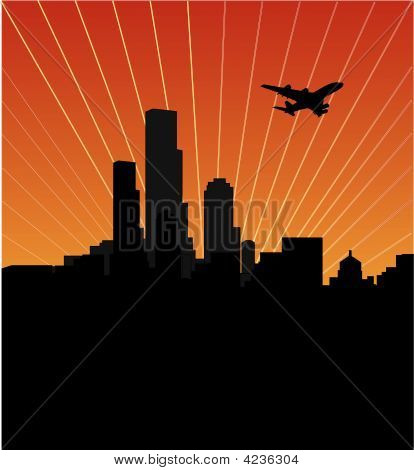 Stadt Skyline bei Sonnenuntergang oder Sunrise