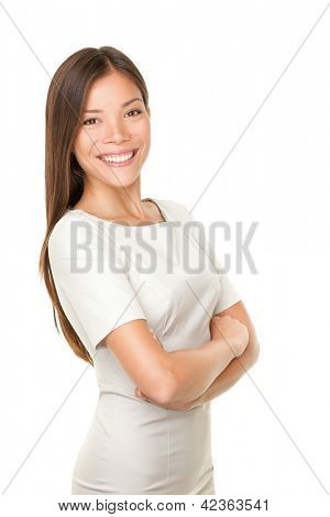 Asian woman portrait smiling happy with arms crossed proud. Young casual female professional businesswoman isolated on white background. Multicultural Asian / Caucasian model.
