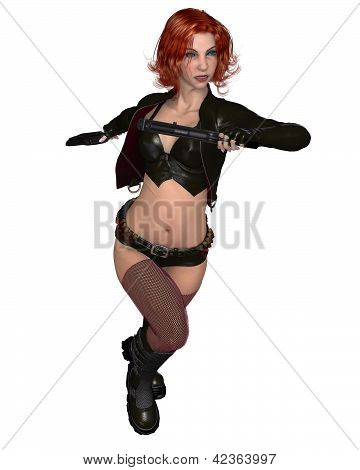 Red Haired Female Mercenary - running