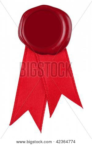 Photo of a red wax seal and ribbon, the centre is blank to add you own design or text. Isolated on a white background.