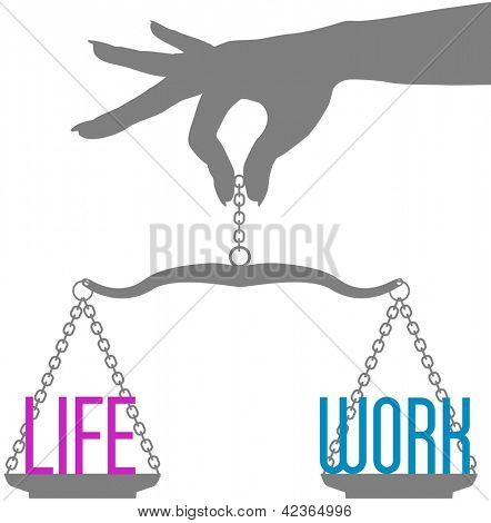 Hand of woman holds scales to balance Life and Work in decision