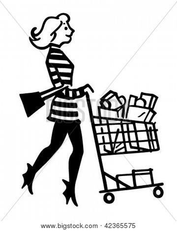 Mod Shopper - Retro Clipart Illustration