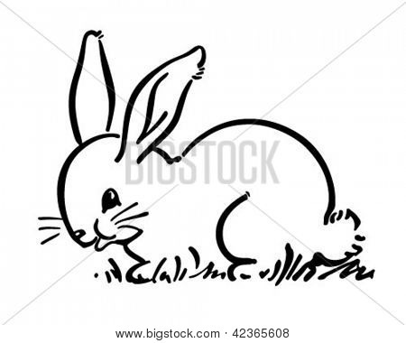 可爱的小兔子兔-复古剪贴画的插图