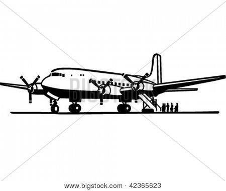 Passengers Boarding Plane - Retro Clipart Illustration